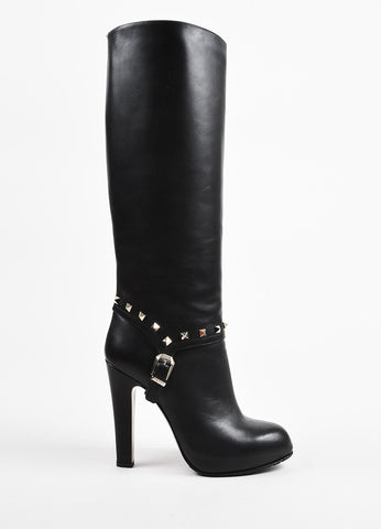 "Black Valentino Leather ""Rockstud"" Platform Heel Knee High Boots Side"