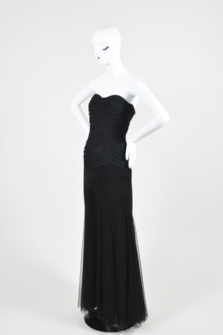 Black Vera Wang Layered Tulle Paneled Strapless Evening Gown Sideview