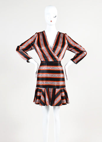 "Veronica Beard Black, Red, and White Silk Patterned Stripe ""Ivy"" Dress Frontview"