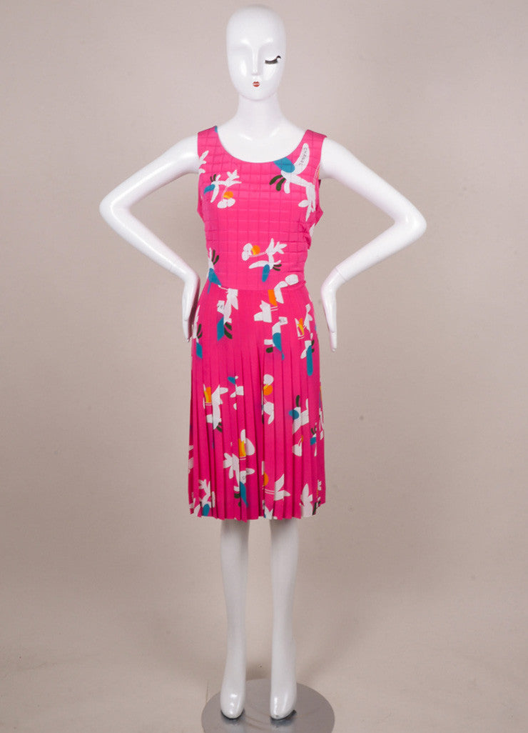 Chanel Pink, White, and Teal Floral Print Silk Quilted Dress Frontview