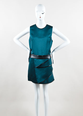 3.1 Phillip Lim Green and Black Faille Leather Trim Draped Sleeveless Dress Frontview
