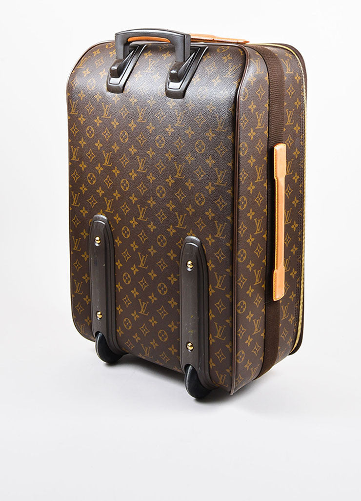 "Louis Vuitton Brown and Tan Coated Canvas Leather Trim ""Pegase 60"" Rolling Luggage Sideview"