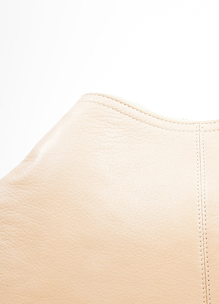 "Alexander McQueen Beige and Gold Toned Leather ""De Manta"" Zip Clutch Bag Detail 2"