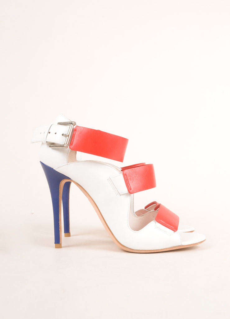 Alexander McQueen White, Red, and Blue Leather Strappy Open Toe Pumps Sideview