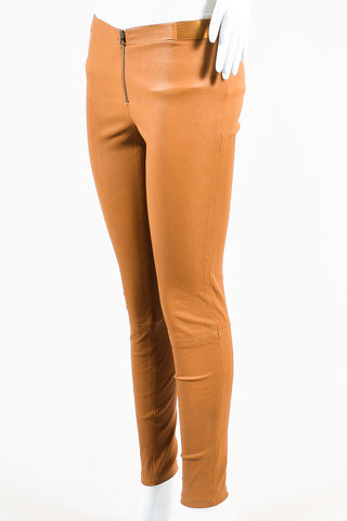 Tan Alice + Olivia Leather Skinny Leggings Side