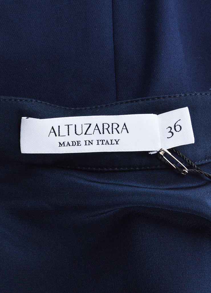 Altuzarra Navy Silk and Cotton Long Sleeve Button Up Sheath Dress Brand