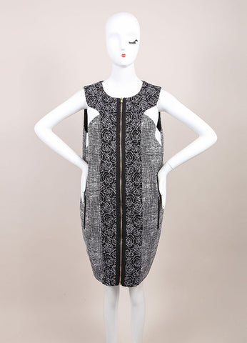 Andrew Gn New With Tags Black and White Tweed Floral Embroidered Sleeveless Dress Frontview
