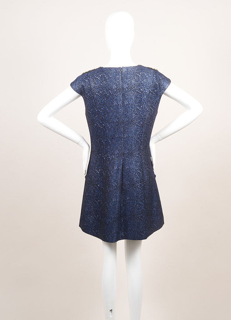 Andrew Gn New With Tags Metallic Blue and Black Cotton Beaded Shoulder Dress Backview