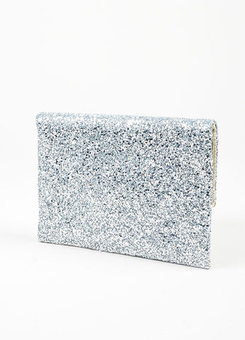 "Silver Glitter Anya Hindmarch Embellished Cloud ""Valorie"" Clutch Bag Backview"