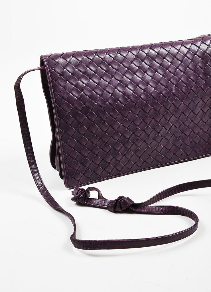Bottega Veneta Purple Woven Leather Shoulder Flap Bag Detail 2