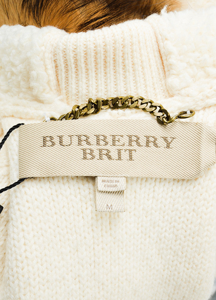 Burberry Brit Cream, Black, and Brown Wool and Fur Trimmed Hooded Toggle Jacket Brand