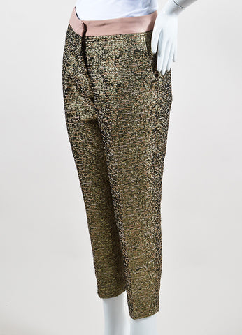 "Gold Metallic and Blush By Malene Birger Jacquard Cropped ""Cortensa"" Pants Sideview"