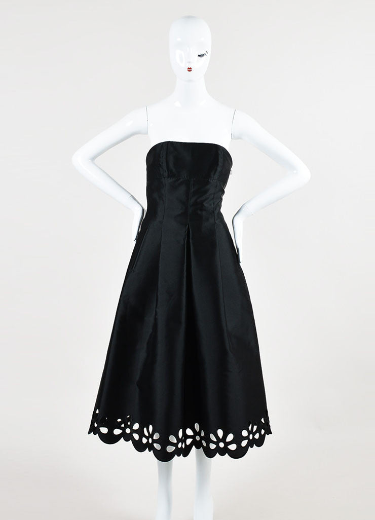 Celine Black Silk Pleated Floral Hem Strapless Midi Gown Frontview