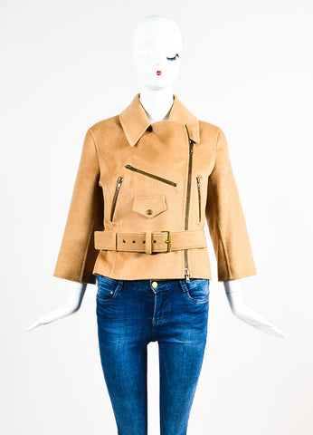 Celine Tan Baby Camel Hair Wool Three-Quarter Sleeve Belted Zip Motorcycle Jacket Frontview