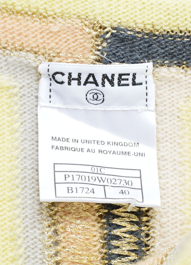 Chanel Yellow Multicolor Cashmere Striped Sleeveless Top Brand