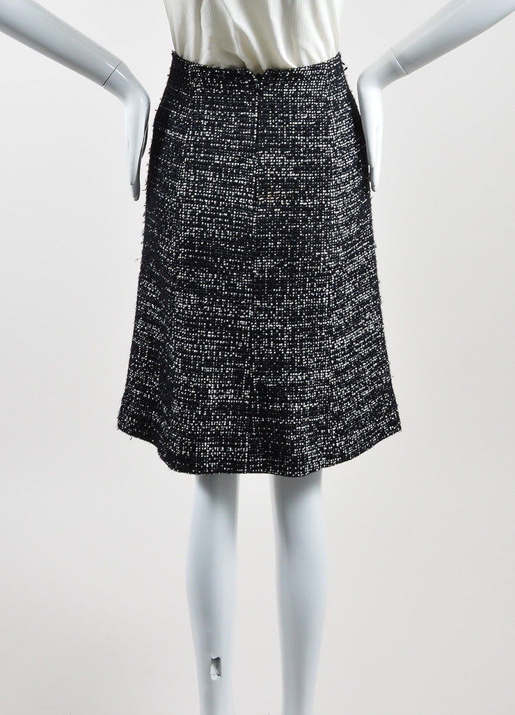 Black and White Chanel Wool Tweed 'CC' A-Line Knee Length Skirt Backview
