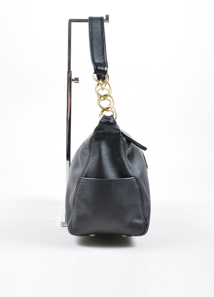 "Chanel Black ""CC"" Stitched Leather Chain Shoulder Bag Sideview"