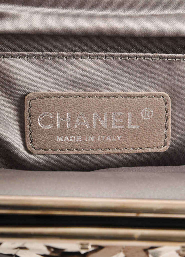 "Chanel Black Metallic, Silver, and Bronze Leather ""CC"" Patchwork Clutch Bag Brand"