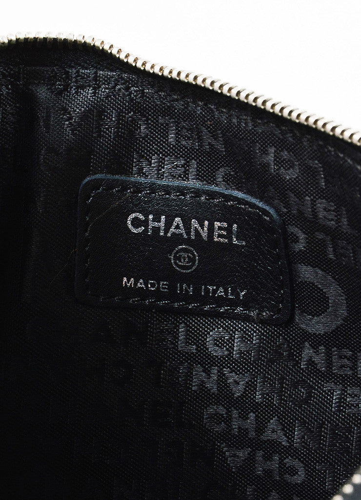 Chanel Black Quilted Embossed Leather 'CC' Logo Chain Strap Pochette Bag Brand
