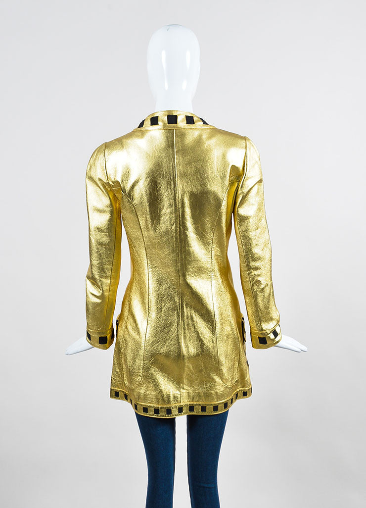 Chanel Black and Gold Metallic Ribbon Trim Buttoned Leather Jacket Backview