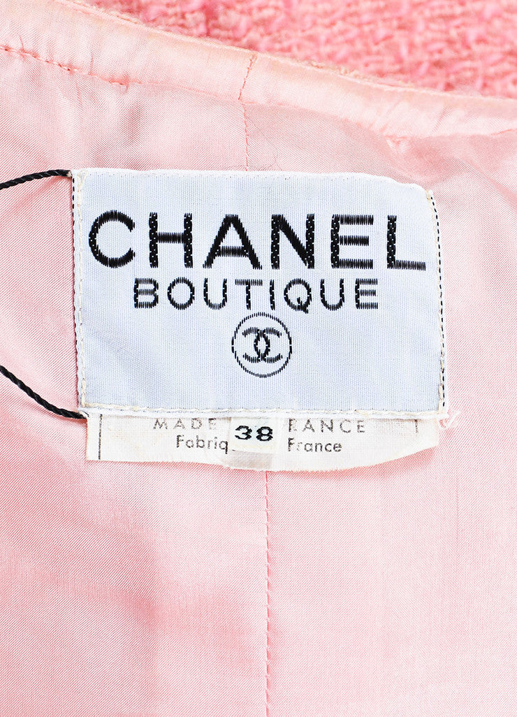 Chanel Pink Boucle Tweed Braided Embroidery Collarless Blazer Brand