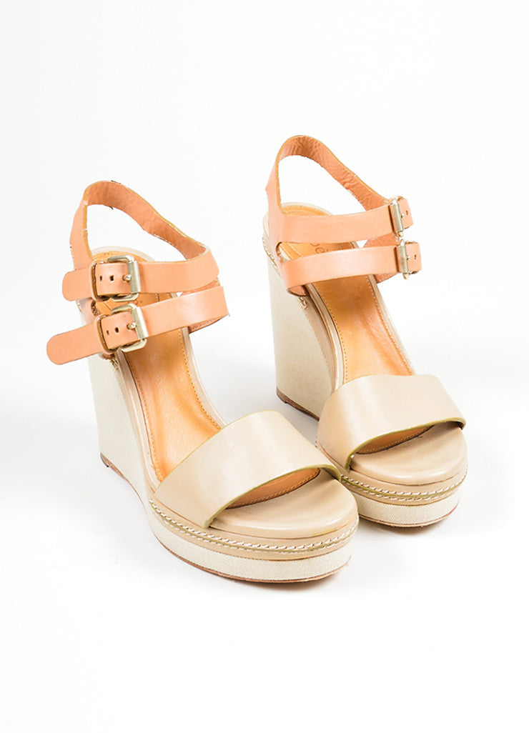 "Taupe Chloe Leather and Canvas Sandal Platform ""Groove"" Wedges Frontview"