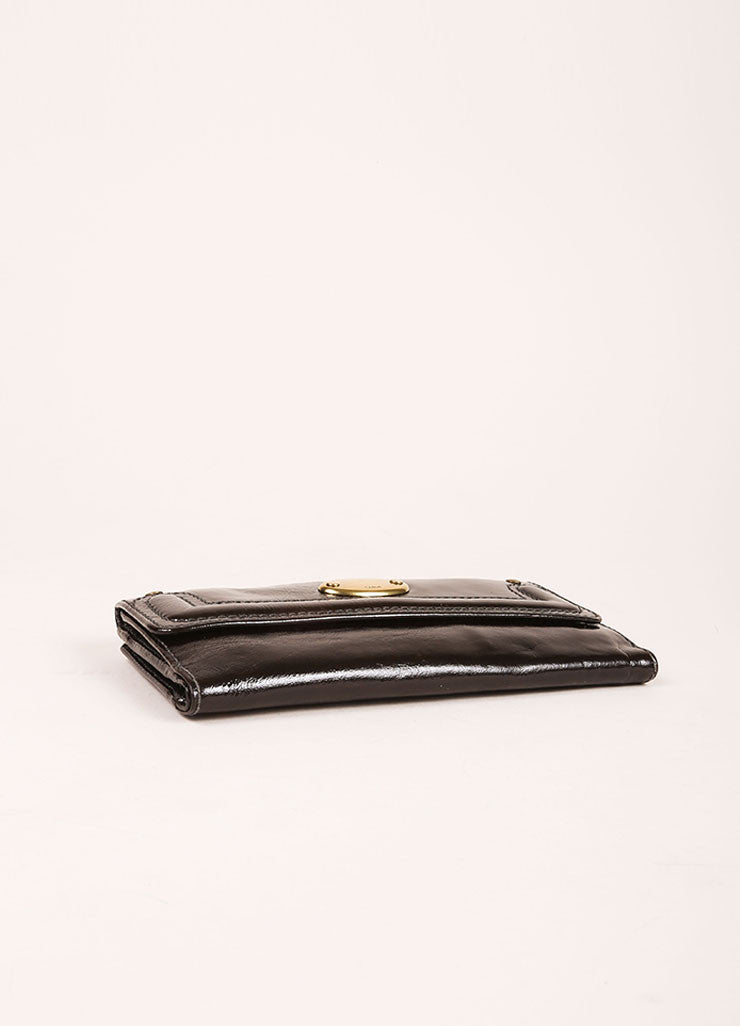 Chloe Black and Brass Tone Patent Leather Flap Continental Wallet Bottom View