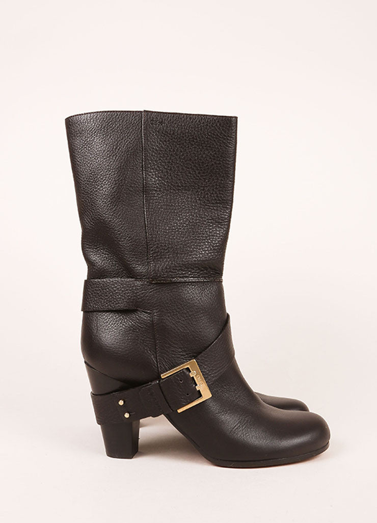 Chloe Dark Brown Leather Harness Mid Calf Boots Sideview