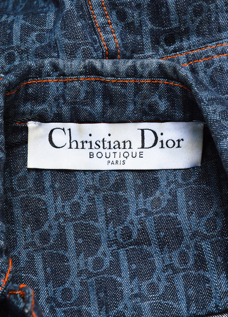 Christian Dior Blue Denim Logo Printed Stitched Detail Jean Jacket Brand