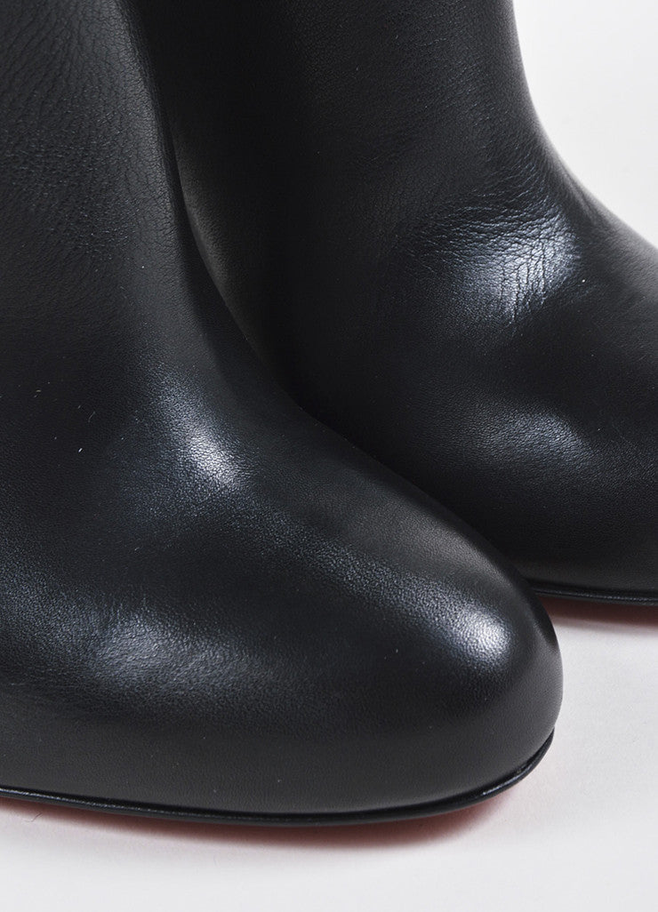 "Black Christian Louboutin Leather Wedge ""Zepita"" Boots Detail"