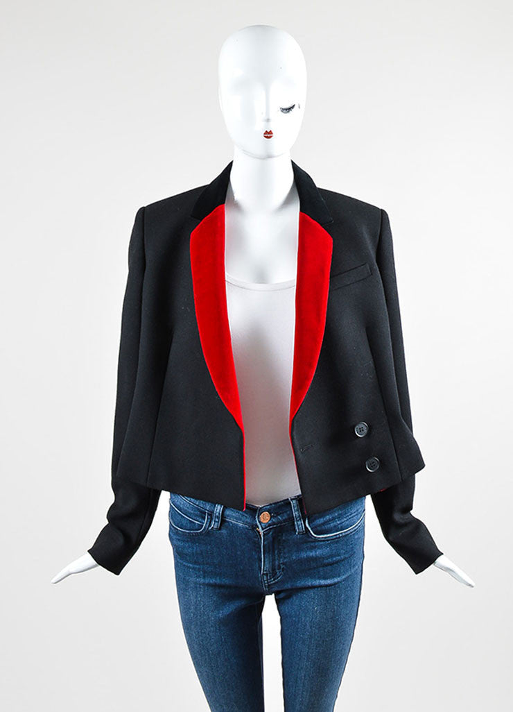 Black and Red Christopher Kane Wool Velvet Long Sleeve Blazer Jacket Frontview