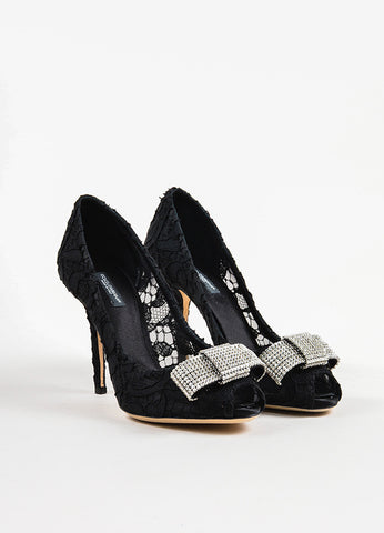 Dolce & Gabbana Black Lace Rhinestone Bow Peep Toe Pumps Frontview