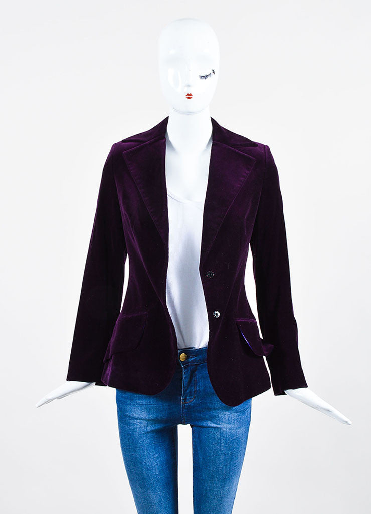 Dolce & Gabbana Purple Velvet 3 Piece Long Sleeve Jacket Vest Pants Suit Jacket