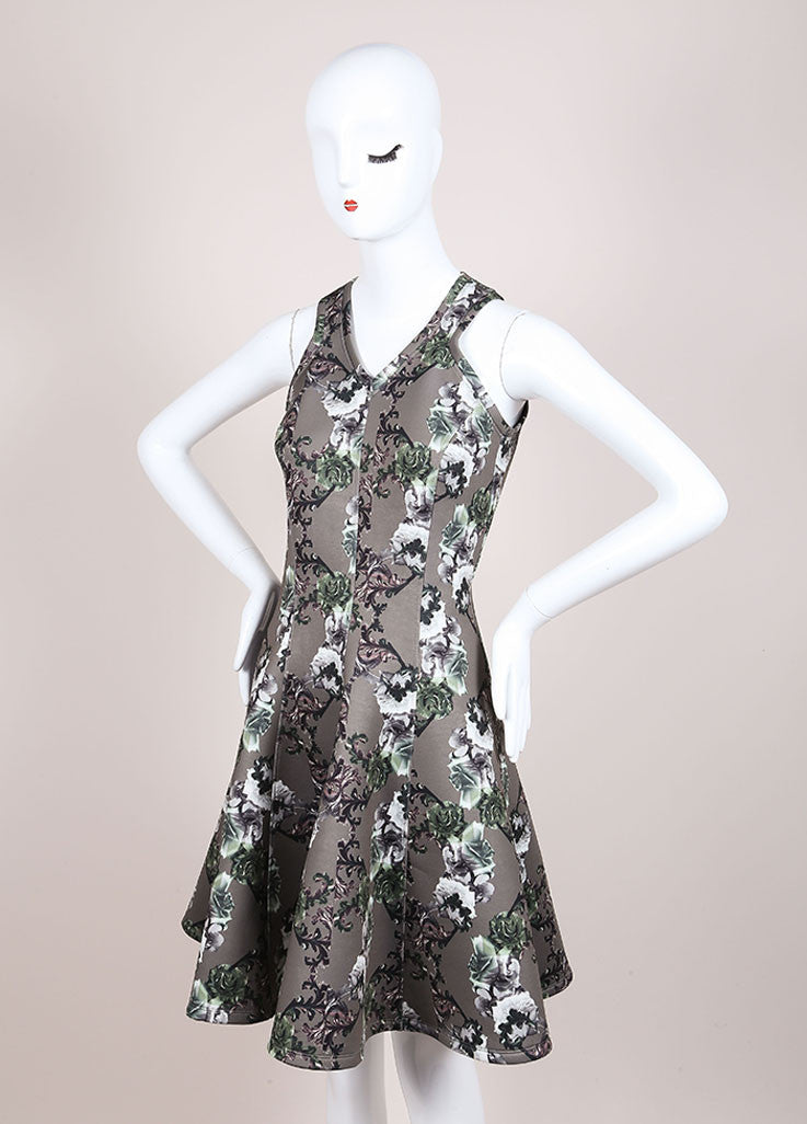 Faith Connexion New With Tags Green Floral Print Neoprene Fit and Flare Dress Sideview
