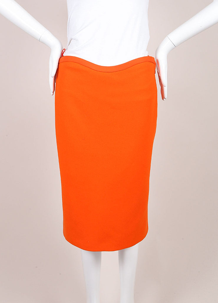 Gianni Versace Orange Wool Pencil Skirt Frontview