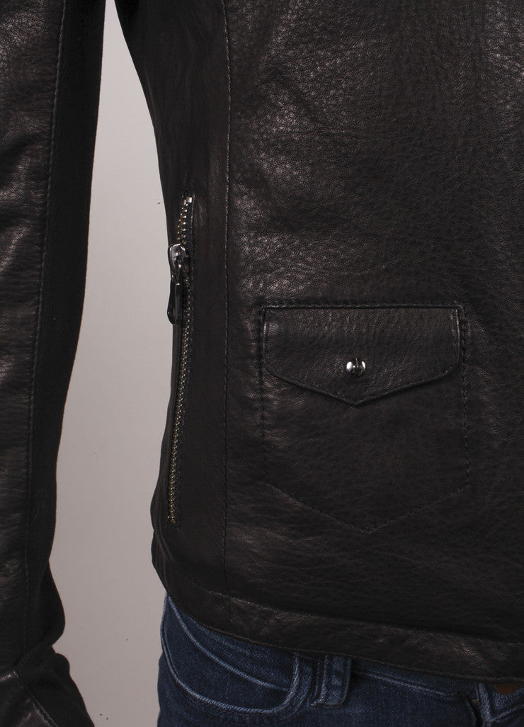 Gimos New With Tags Brown and Black Leather Knit Trim Zipper Jacket Detail 2