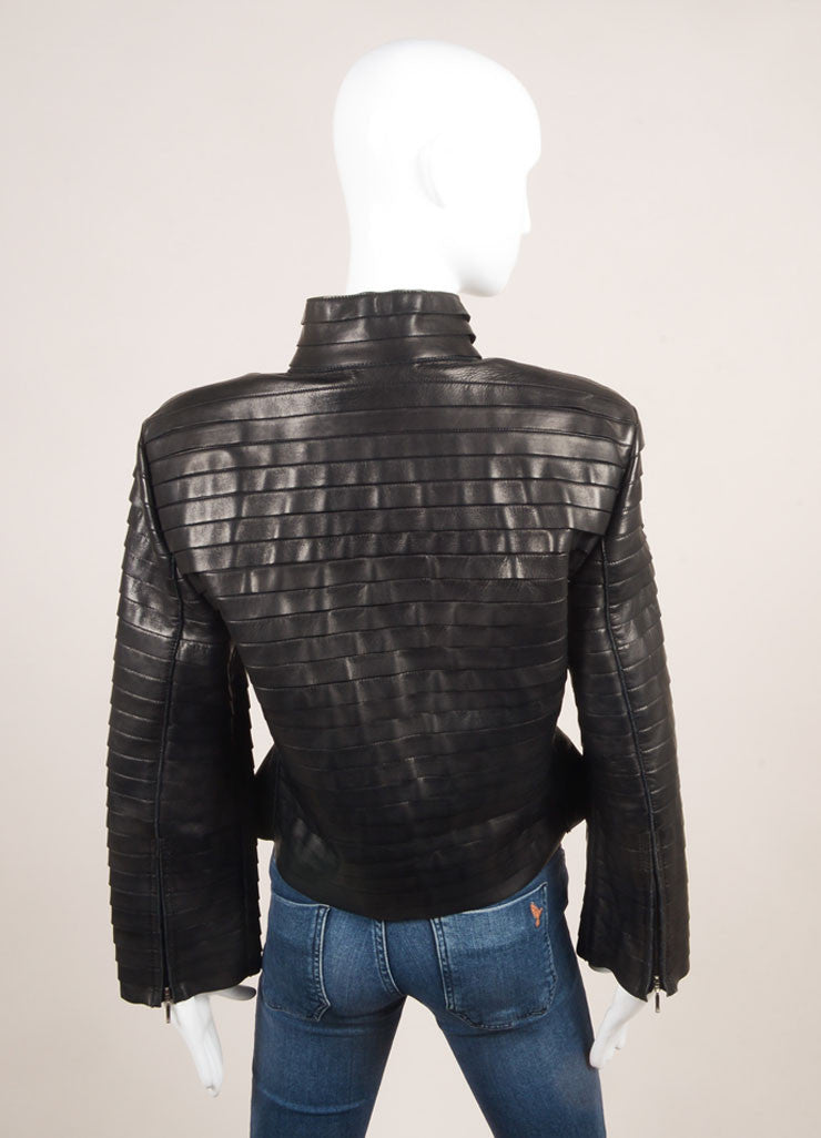 Giorgio Armani Black Tiered Leather Jacket Backview