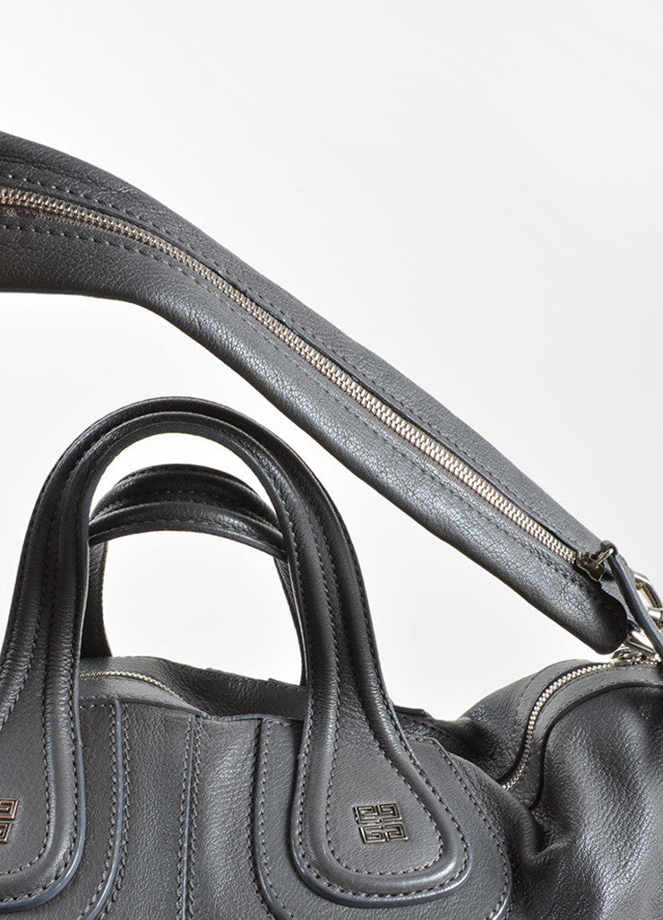 "Givenchy Grey Leather Paneled Large Carryall ""Nightingale"" Tote Bag Detail 2"