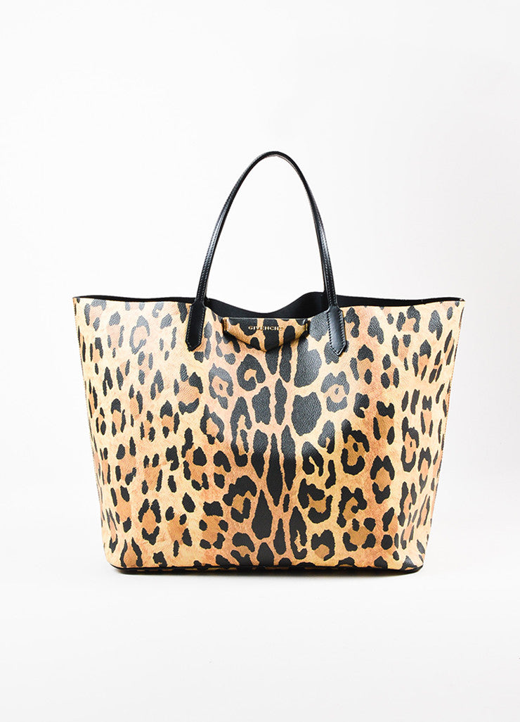 "Givenchy Black and Tan Vegan Leather Leopard Print Textured Large ""Antigona"" Tote Bag Frontview"