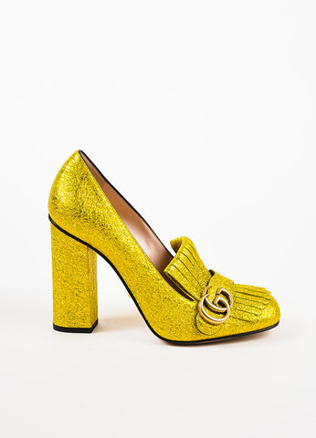 "Gucci Yellow Gold Metallic Leather Foil 'GG' ""Marmont"" Loafer Heels Sideview"