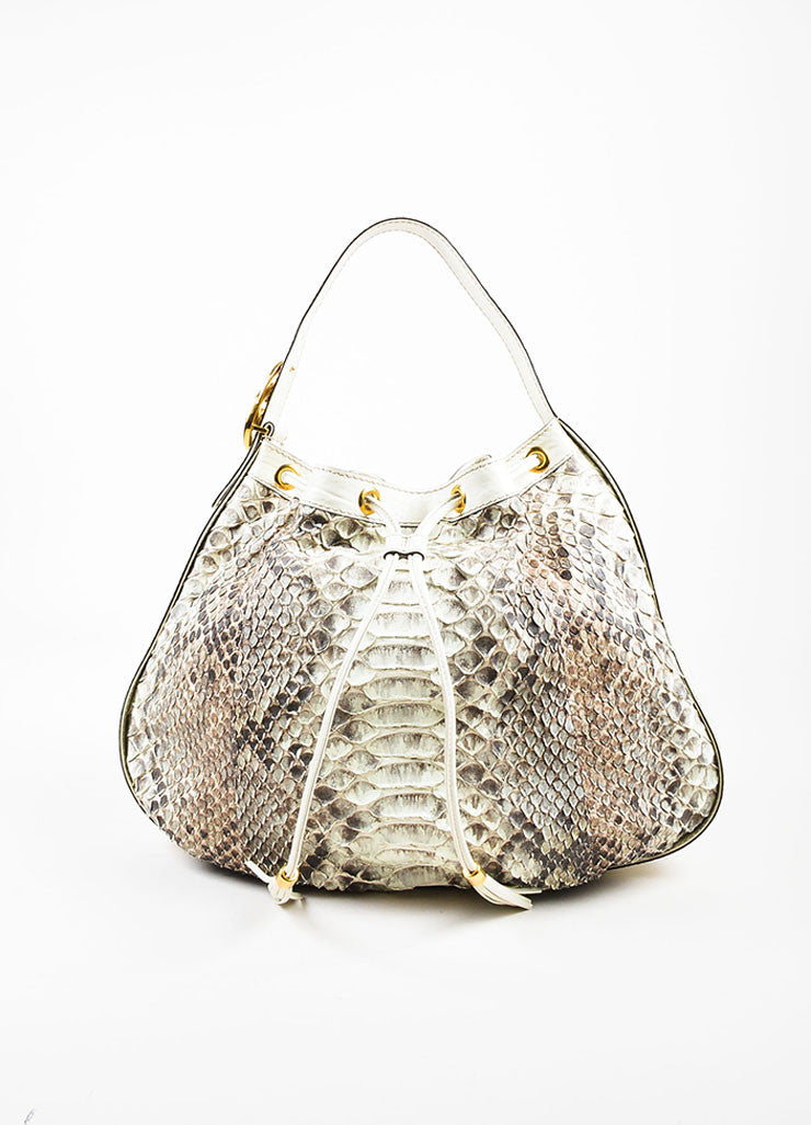 "Gucci Cream and Brown Python Leather Drawstring ""Interlocking Icon"" Hobo Bag Frontview"