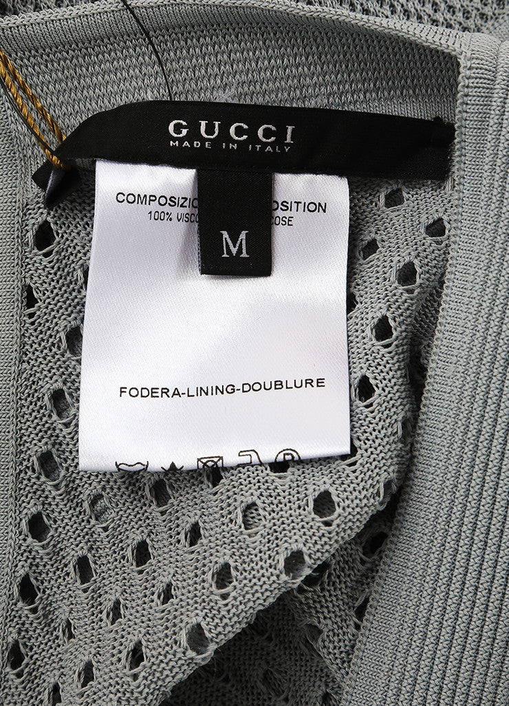 Gucci Grey Stretch Mesh Knit Ribbed Sleeveless Top Brand