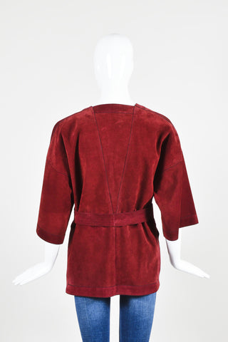 Dark Red Gucci Suede Leather Crop Sleeve Belted Wrap Jacket Backview