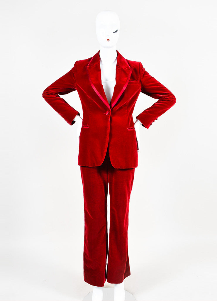 Gucci Red Velvet Satin Trim Wide Leg High Waist Tuxedo Pantsuit Frontview