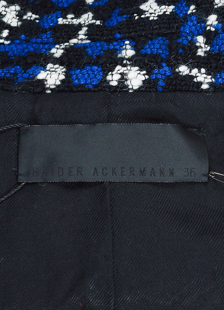 "Black and Blue Tweed Haider Ackermann Cropped ""Neurotico"" Jacket Brand"
