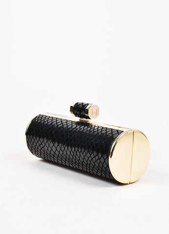 Halston Heritage Black and Gold Embossed Snakeskin Minaudiere Roll Clutch Bag Sideview