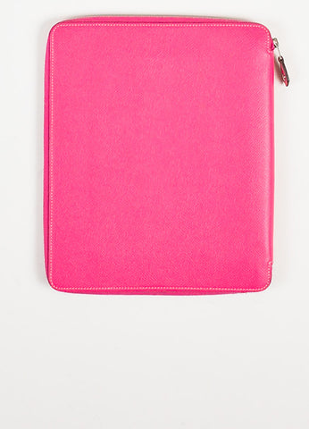 "Hermes Pink and Silver Toned Epsom Leather Zip ""Hightech iPad Stand"" Cover Backview"