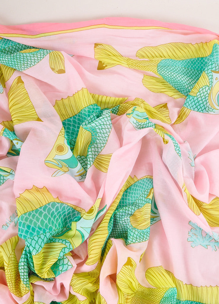 "Hermes Pink, Green, and Yellow Fish Print ""Bali"" Cotton Muslin Beach Pareo Wrap Detail"