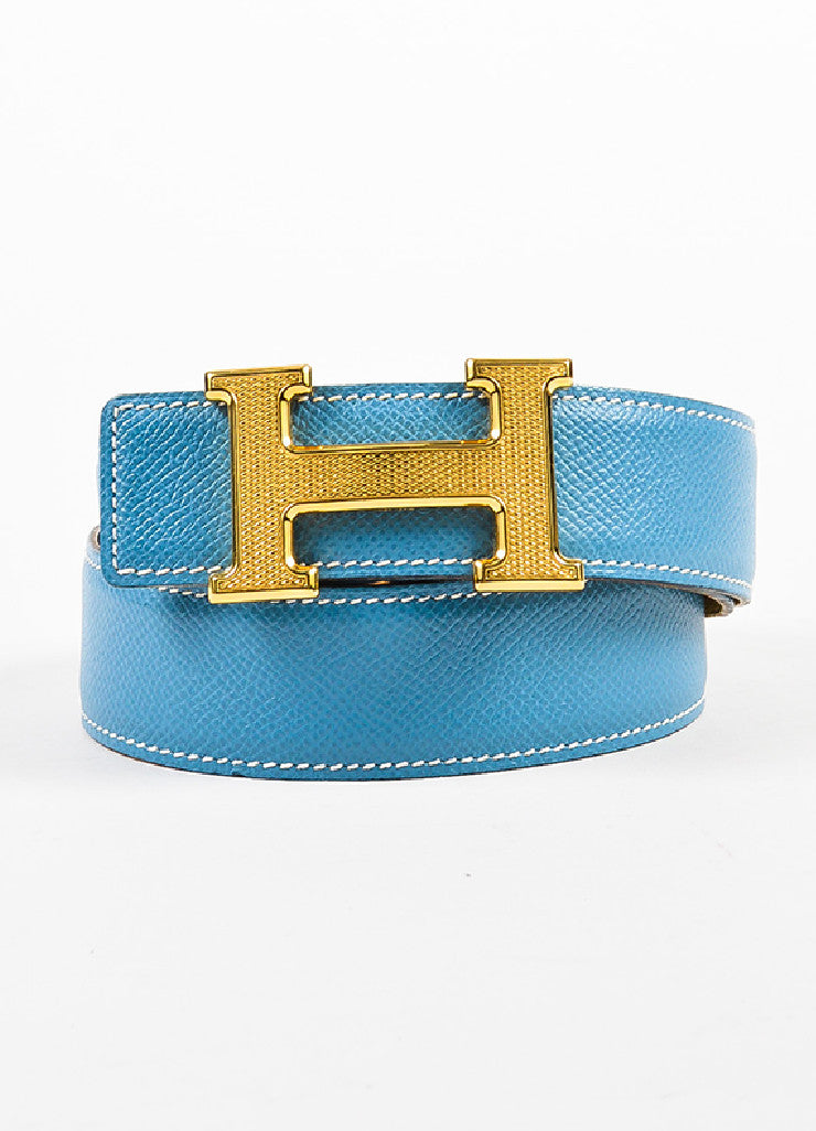 "Hermes ""Jaune D'or"" Yellow and ""Bleu Jean"" Blue Epsom Leather ""Constance"" Belt Frontview 2"
