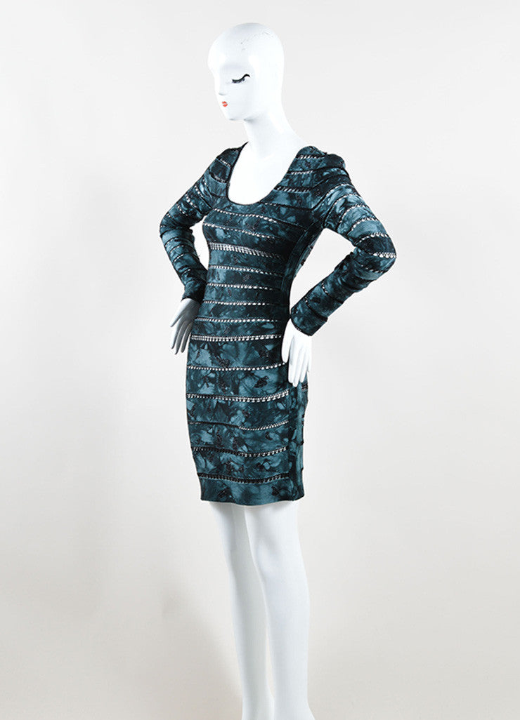 Herve Leger Navy and Black Sheer Crocheted Stripe Bandage Dress Sideview